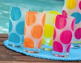 Ashley Gifts Frosted Glass Tumbler 16oz 4 Asst, Polka Dots