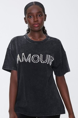 Forever 21 Faux Pearl Amour Graphic Tee