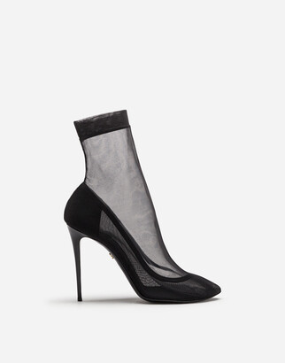 Dolce & Gabbana Stretch Tulle And Patent Leather Booties