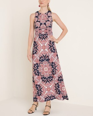 London Times Medallion-Print Jersey Maxi Dress