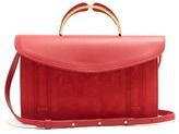 Mansur Gavriel Satchel top-handle leather and suede clutch