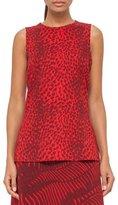 Akris Cheetah-Print Wool Top, Pomegranate