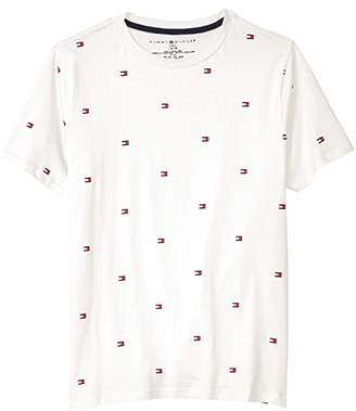 Tommy Hilfiger Flag Icon Tee (Big Kids) (All Over White) Boy's Clothing
