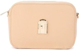 Furla Sleek Mini Shoulder Bag In Sand-colored Leather With Shoulder Strap