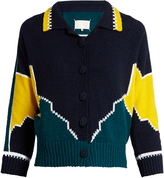 Maison Margiela Long-sleeved cotton intarsia-knit polo shirt