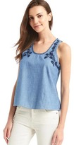 Gap 1969 Denim Embroidered Floral Tank