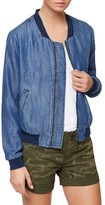 Sanctuary Women's Blue Chambray Bomber Jacket