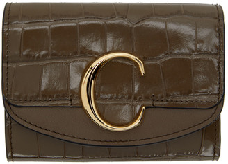 Chloé Khaki Small C Trifold Wallet