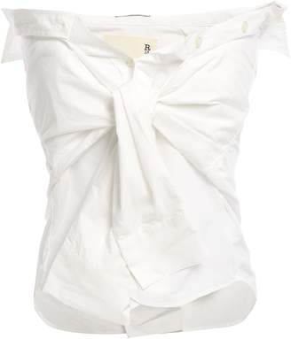 R 13 Strapless Knotted Cotton-poplin Top