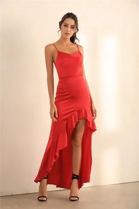 Miss Floral Cami Asymmetric Ruffle Hem Dress In Red Satin