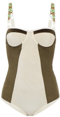 Ami Muse Studio - Beaded Velvet Bodysuit - Womens - Cream Multi
