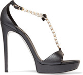 Rene Caovilla Faux pearl and crystal-embellished leather sandals