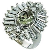 Fiorelli Costume Collection Ladies R2741 56 Fancy Cluster Ring Set with Clear and Black Diamond Crystals Size Medium