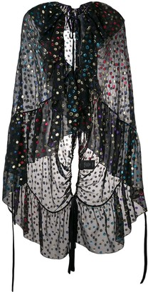 Saint Laurent Embellished Semi-Sheer Cape