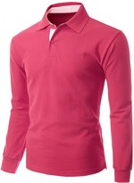 Xpril Mens Casual Basic Sporty Long Sleeve Polo Collar T shirts size XL