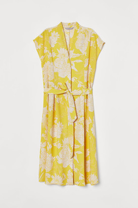 H&M Tie-belt Satin Dress - Yellow
