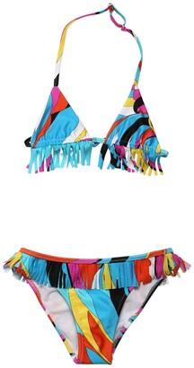 Emilio Pucci Printed Lycra Bikini W/ Fringes