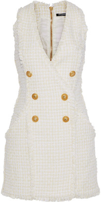 Balmain Button-embellished Frayed Boucle-tweed Mini Dress