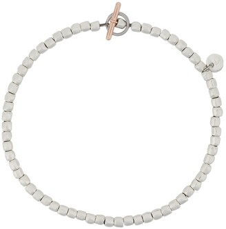 Dodo 9kt rose gold, silver and steel mini Granelli bracelet