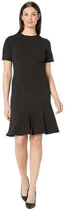 Donna Morgan Short Sleeve Knitted Crepe Fit and Flare Dress (Black) Women's Dress
