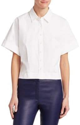 Theory Stretch Cotton Crop Button-Down Blouse