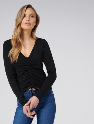 Forever New Cleo Ruched Front Tee - Black - xxs
