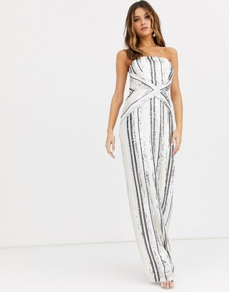 TFNC bandeau stripe sequin maxi dress with back slit in multi