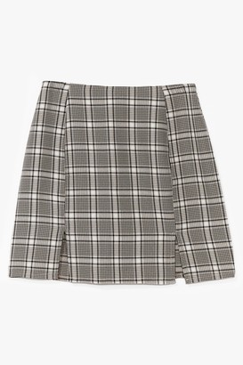 Nasty Gal Womens That Checks Out Slit Mini Skirt - Beige - 8