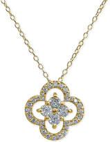 "Giani Bernini Cubic Zirconia Flower 18"" Pendant Necklace in Sterling Silver, Created for Macy's"