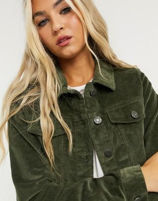 Noisy May cord jacket in khaki
