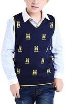 MFrannie Boys 3-12T Cartoon Owl V Neck Elastic Knitted Vest Sweater