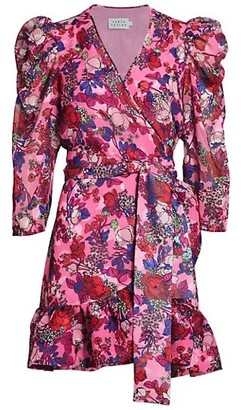 Tanya Taylor Sasha Floral Puff-Sleeve A-Line Wrap Dress