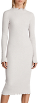 AllSaints Eli Frill Dress, Pearl Grey