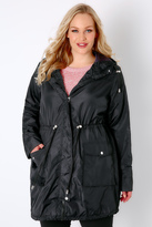Yours Clothing Black Poly Luxe Parka Jacket With Hood & Drawstring Waist