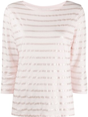 Majestic Filatures metallic breton striped linen blend T-shirt