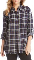 Karen Kane Plaid Button-up Fringe Hem Shirt