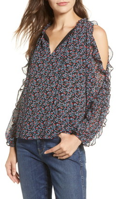 1 STATE Ruffle Cold Shoulder Top