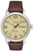 BOSS 'Pilot' Leather Strap Watch, 44mm