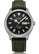 Rotary Watches Mens Silver Heritage Watch With Black Dial