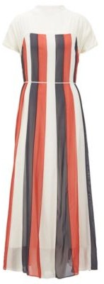 HUGO BOSS Chiffon Maxi Dress With Flared Skirt And Tie Belt - White