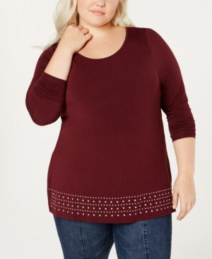 Belldini Plus Size Embellished Knit Top