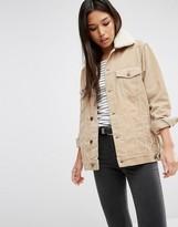 Asos Cord Denim Girlfriend Jacket in Stone with Fleece Collar