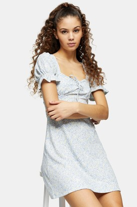 Topshop TALL Blue Open Back Flippy Dress