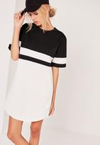 Missguided Contrast Curve Hem Oversized Dress Mono