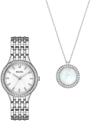 Bulova Women's Crystal Watch & Pendant Set, 32mm