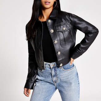 River Island Petite black faux leather cropped jacket