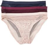 Lucky Brand Women's Underwear Grape - Grape Wine, Shadow Blush & Blue Iris Sheer Lace Bikini Pack - Women