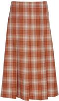 Marni Pleated Plaid Wool Midi Skirt