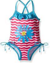 Pink Platinum Platinum Baby Big Flower and Wave Swimsuit