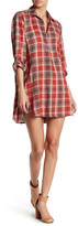 En Creme Plaid Boyfriend Shirt Dress